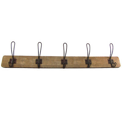 Antique Style Wooden Wall Mount Coat Rack Hat/Key Hook Primitive Farmhouse Decor