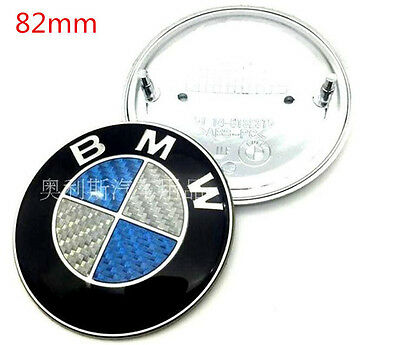 NEW BMW 82mm  Blue Silver Carbon Fiber Emblems Trunk Hood Badge Logo Set