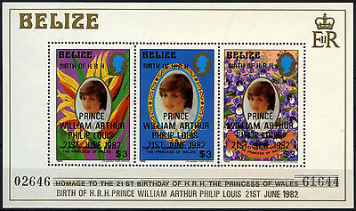 Belize 1982 SG#MS713 Royal Birth MNH Large Overprint MNH M/S Sheet #D43292
