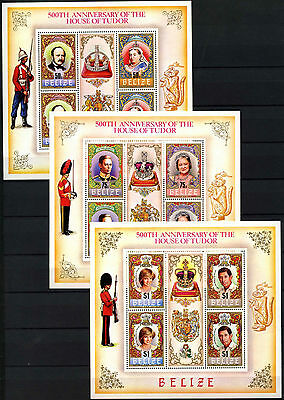 Belize 1984 SG#799a-803a British Royal House Tudor MNH Sheetlets Set #D43296