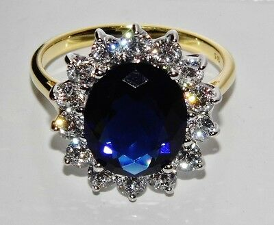 """9ct Yellow Gold & Silver Blue Sapphire """"Lady Diana"""" Large Cluster Ring - size S"""
