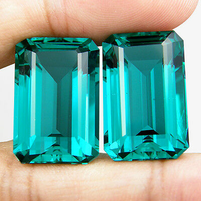 39.93 CT. MATCHING PAIR EMERALD GREEN BLUE PARAIBA NANO APATITE 21.1 x 13.9 MM