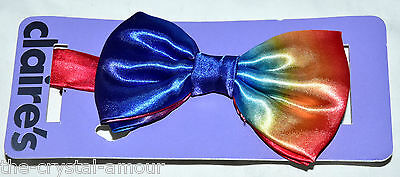 Claire's, Rainbow Silky Bow Tie, Bowtie. Adjustable New With Tags