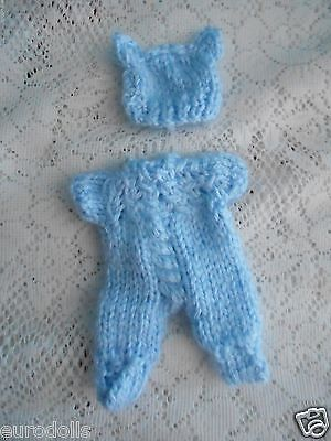 "Doll Clothes Blue Hand Knitted Sleeper set footed for Berenguer Baby 5"" ooak 6"""