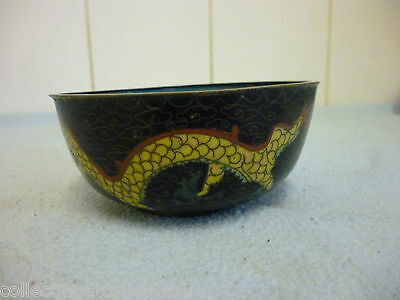 Ref 004 Vintage Chinese Cloisonne Five Toe  Dragon Bowl