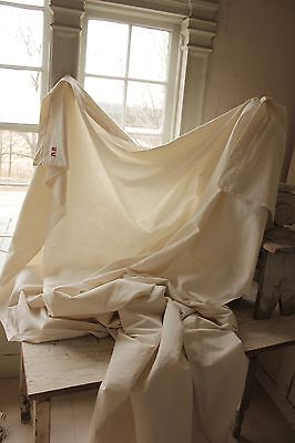 Vintage French cotton  sheet old 82X120 AB  monogram Natural organic unbleached
