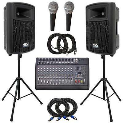 "Seismic Audio Power Mixer, Molded 15"" PA Speakers, Stands, Mics & Cable Package"