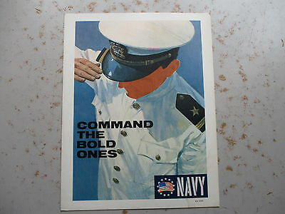 Command the Bold Ones - Cardboard US Navy Recruiting Poster, Vietnam Era, 1960s