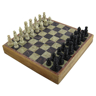 Marble Stone Chess Board and Pieces Set - Rajasthan Stone Art - 20 x 20 cm