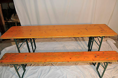 Antique Style Beer Garden Table with 2 Benches GREAT Convenient Dining Package