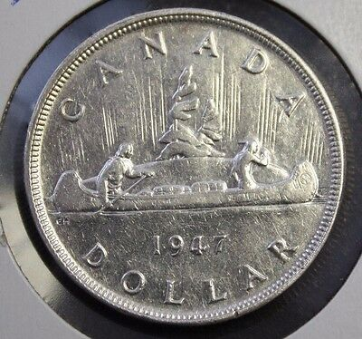 1947 Canada Silver dollar B7 double 7 EF cleaned