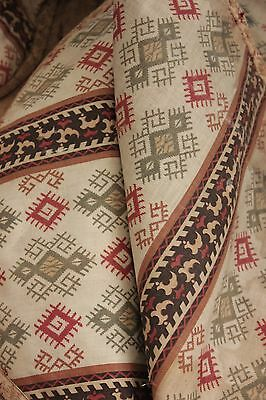 Antique c 1850 French valance RARE geometric pattern kilim inspired