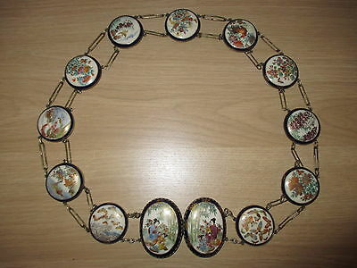 "Japanese Satsuma Meiji Period 32"" Porcelain Enamelled Belt & Buckles Signed Fs"