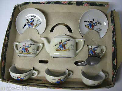 Old Japan Childs Christmas Porcelain Tea Set  KIDS SLEDDING ON SNOWY DAY