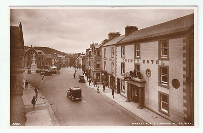 Market Place Selkirk County Hotel c1931 Car Reg SC6512 AR Edwards 2982 Old PC