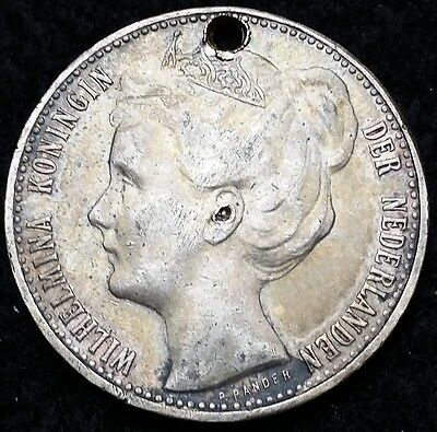 NETHERLANDS: 1898 1 Gulden .720 Silver Coin, KM# 123 **KEY DATE** Holed