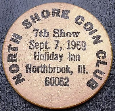 1969 North Shore Coin Club Illinois Wooden Nickel - Rotated Die