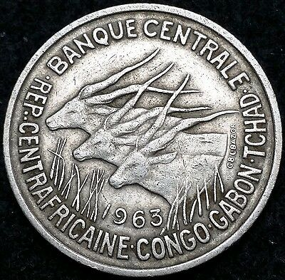 1963 Equatorial African States 50 Francs Coin KM# 3 - Nice Detail