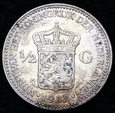 NETHERLANDS: 1922 1/2 Gulden .720 Silver Coin, KM# 160 - Free Combined S/H