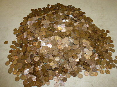 BULK LOT of 34+ lbs PRE-1982 COPPER PENNIES, UNSEARCHED BULLION, INCLUDES WHEATS