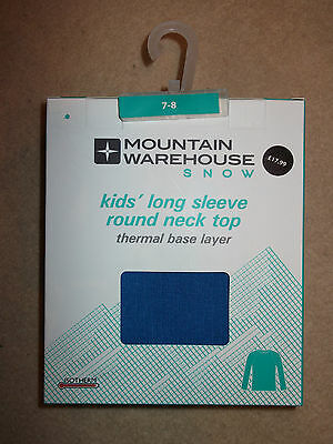 Mountain Warehouse Kids Long Sleeve Thermal Top Age 7-8 Years New In Box