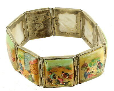 """Antique Persian Silver Mother Of Pearl MOP Painted Story Teller Bracelet 7.5"""""""