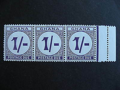 GHANA J10 strip of 3 with shilling mark variety, stamps MH, variety stamp marked