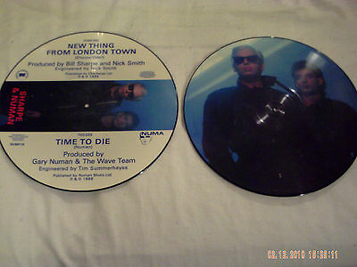 "Numan. 'Sharpe & Numan' 7""&12""picture discs. 'NEW THING FROM LONDON TOWN'."