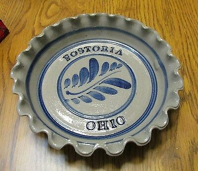 Fostoria Ohio Blue And Gray Stoneware Ruffled Edge Baking Dish Bowl  # 668