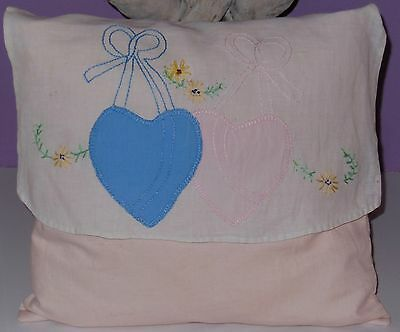 Pretty Vintage 1920's Embroidered Boudoir Pillow with Hearts Flowers & Ribbons
