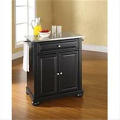 Crosley Furniture Alexandria Stainless Steel Top Portable Kitchen Island in B...