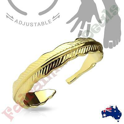14kt Gold Rhodium Plated Tribal Feather Adjustable Toe Ring