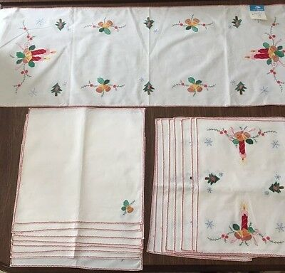 Hand Embroidered White Cotton Placemats Napkins Runner 17 Pieces Holiday