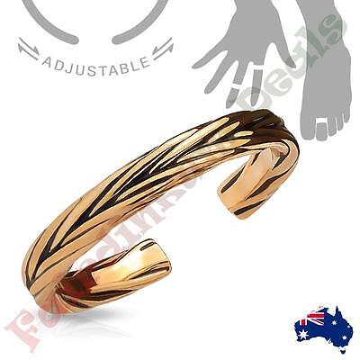 14kt Rose Gold Rhodium Plated Double Braided Adjustable Toe Ring/Mid Ring