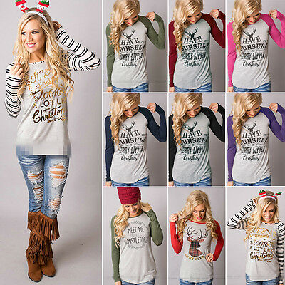 Women's Loose Tops Long Sleeve Pullover Casual Blouse Shirt XMAS T-shirt S-3XL