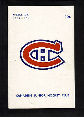 1953-54 Montreal Jr. Canadiens Double Bill Game Program