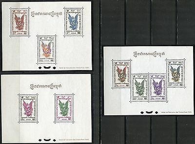 CAMBODIA SCOTT#C1a/C3a SET OF THREE DELUXE SOUVENIR SHEETS MINT LIGHT  HINGED