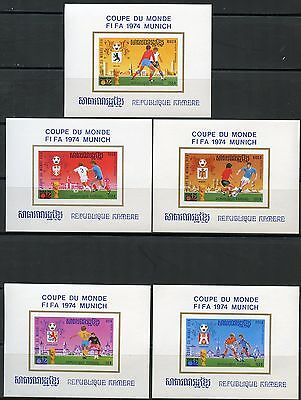 Cambodia Munich World Cup Sc#346/54  Imperforate Deluxe Souvenir Sheets  Mint Nh