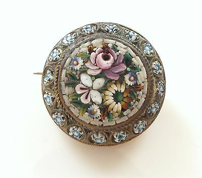 Antique Fine Victorian Micro Mosaic Floral Brooch Pin Italy Gilt Signed