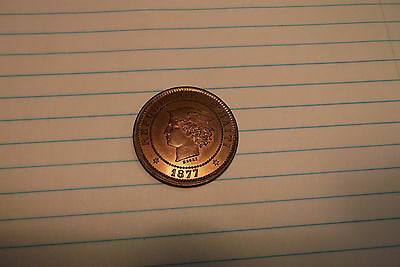 1877 HAITI KM Pn75, PATTERN, PF 20 CENTIMES COPPER, VERY RARE