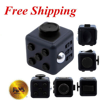 Full Black Fidget Cube 6-side Toy Anxiety Stress Attention Relief