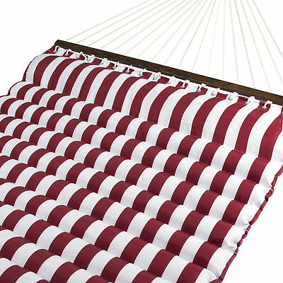 BCP Deluxe Double Two Person Pillow Top Hammock Extra Comfort Red White Stripe