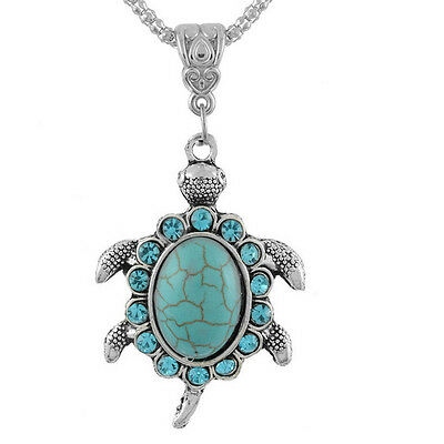 Vintage Women Boho Turquoise Turtle Charm Pendant Chain Necklace Jewelry Gift