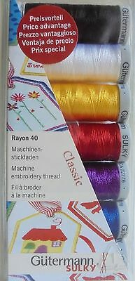 Gutermann Machine Embroidery Rayon 40 'classic'  Thread Set/pack  7 Colours
