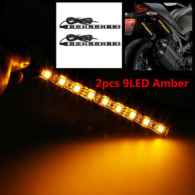 Amber 9LED 5050-SMD Motorcycle Turn Signal Indicator Blinker 6 inch Light Strip