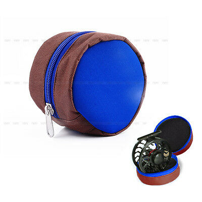Portable Fly Fishing Storage Zip Reel Sponge Pouch Cover Protective Bag Case