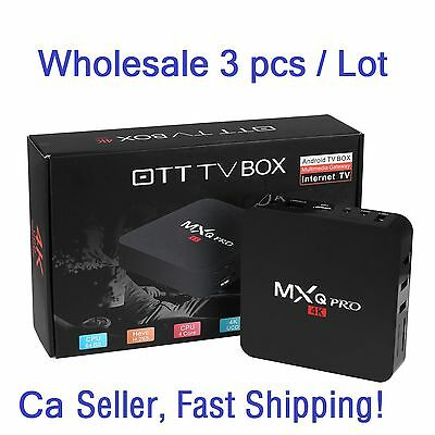 3Pcs MXQ Pro 4K S905 Smart TV Box 64Bit 2.0GHz Quad Core Android 5.1 1G+8G XBMC