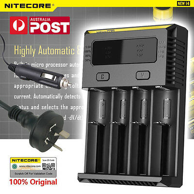 Nitecore NEW i4 Intellicharge Universal Battery Charger RCR123A 26650 18650 AAA