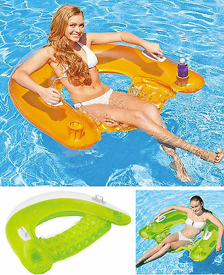"Intex Inflatable 60"" Sit n Float Swimming Pool Beach Chair Lilo Lounger Air Mat"