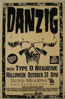 DANZIG/TYPE O NEGATIVE 1996 IRVINE, CALIFORNIA CONCERT TOUR POSTER - The Misfits